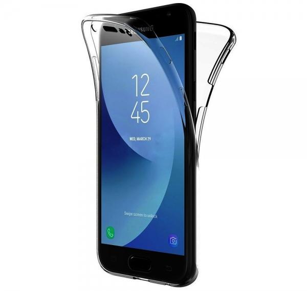 Husa Full TPU 360 fata spate Samsung Galaxy J3 (2017), Gri Transparent 0