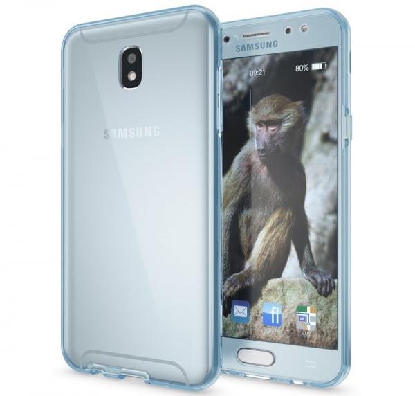 Husa Full TPU 360 fata spate Samsung Galaxy J7 (2017), Albastru Transparent 1