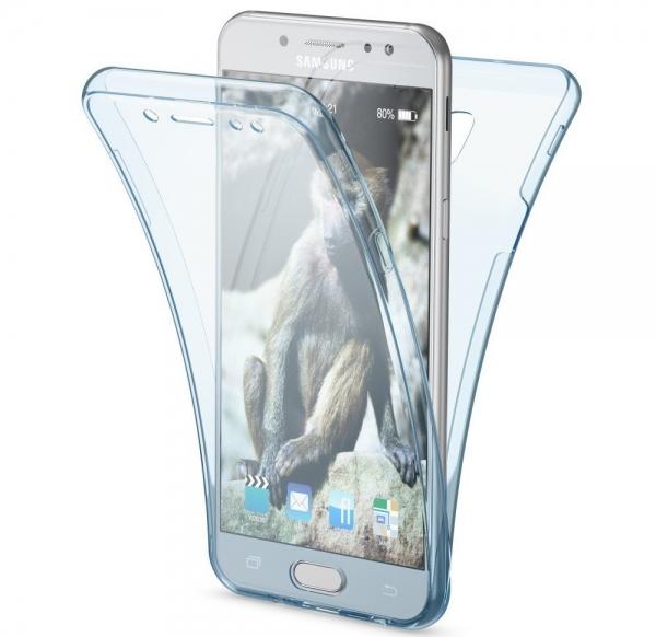 Husa Full TPU 360 fata spate Samsung Galaxy J7 (2017), Albastru Transparent 0