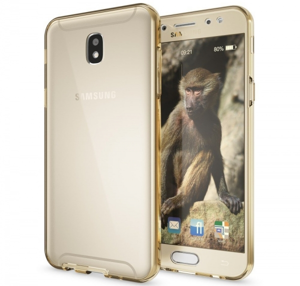 Husa Full TPU 360 fata spate Samsung Galaxy J7 (2017), Gold Transparent 1
