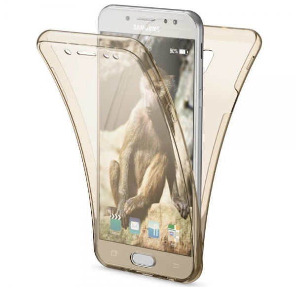 Husa Full TPU 360 fata spate Samsung Galaxy J7 (2017), Gold Transparent 0