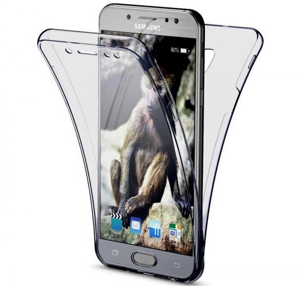 Husa Full TPU 360 fata spate Samsung Galaxy J7 (2017), Gri Transparent 0