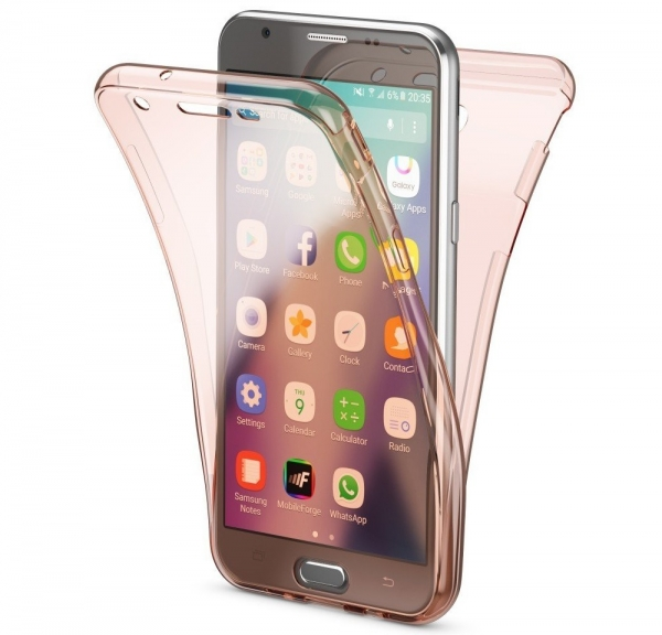 Husa Full TPU 360 fata spate Samsung Galaxy J7 (2017), Rose Gold Transparent 0