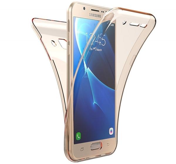 Husa Full TPU 360 fata spate Samsung Galaxy J7 Prime, Gold Transparent 0