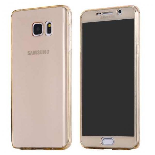 Husa Full TPU 360 (fata + spate) Samsung Galaxy Note 5, Gold Transparent 0
