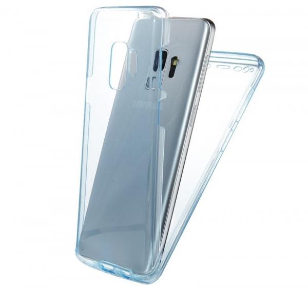 Husa Full TPU 360 fata + spate Samsung Galaxy S9, Albastru Transparent 1