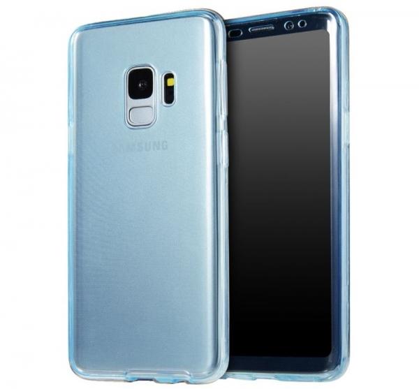 Husa Full TPU 360 fata + spate Samsung Galaxy S9, Albastru Transparent 0