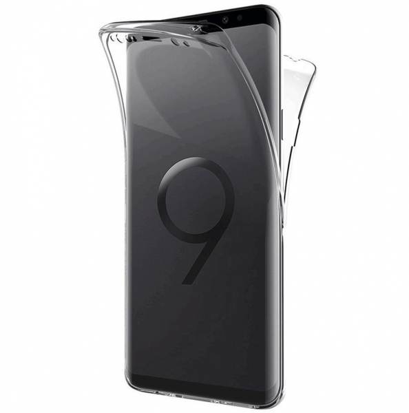 Husa Full TPU 360 fata + spate Samsung Galaxy S9, Gri Transparent 2