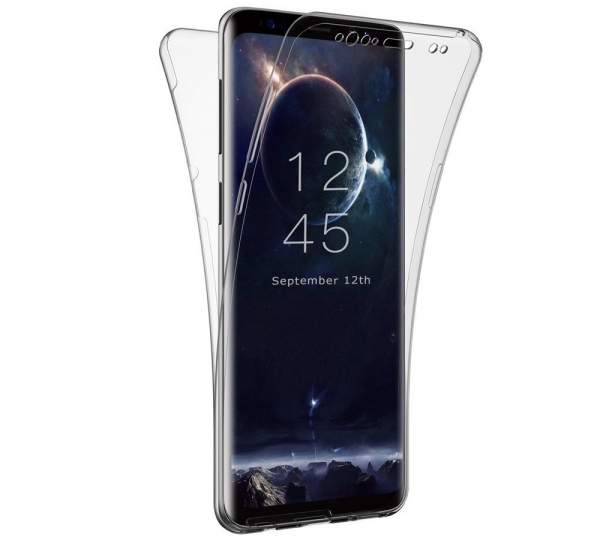 Husa Full TPU 360 fata spate Samsung Galaxy S9 Plus, Gri Transparent 0