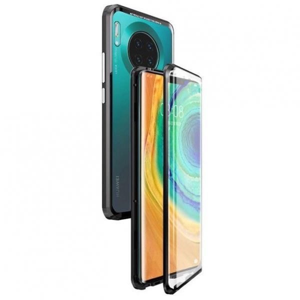 Husa Huawei Mate 30 Pro Magnetic Glass 360 (sticla fata + spate), Negru 0
