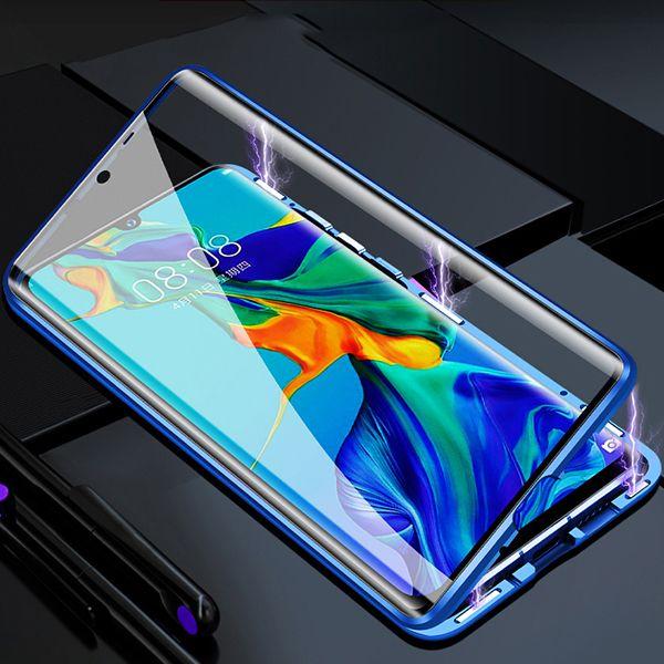 Husa Huawei P30 Pro Magnetic Glass 360 (sticla fata + spate), Albastru 1