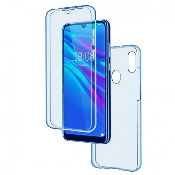 Husa Huawei Y6 2019 Full TPU 360 (fata + spate), Albastru transparent 0