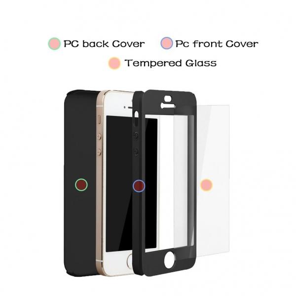 Husa iPaky 360 + folie sticla iPhone 5 / 5S / SE, Black 2