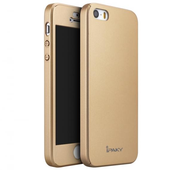 Husa iPaky 360 + folie sticla iPhone 5 / 5S / SE, Gold 0