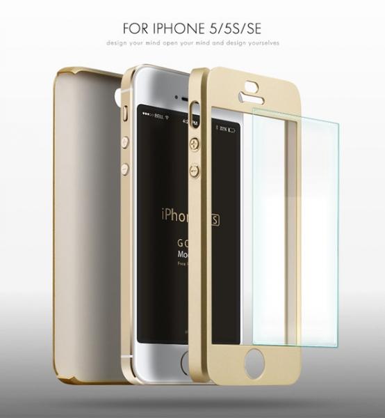 Husa iPaky 360 + folie sticla iPhone 5 / 5S / SE, Gold 2