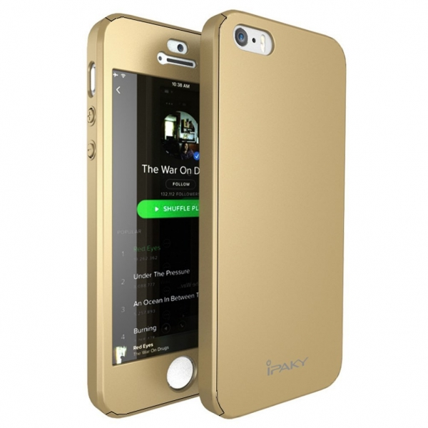 Husa iPaky 360 + folie sticla iPhone 5 / 5S / SE, Gold 1