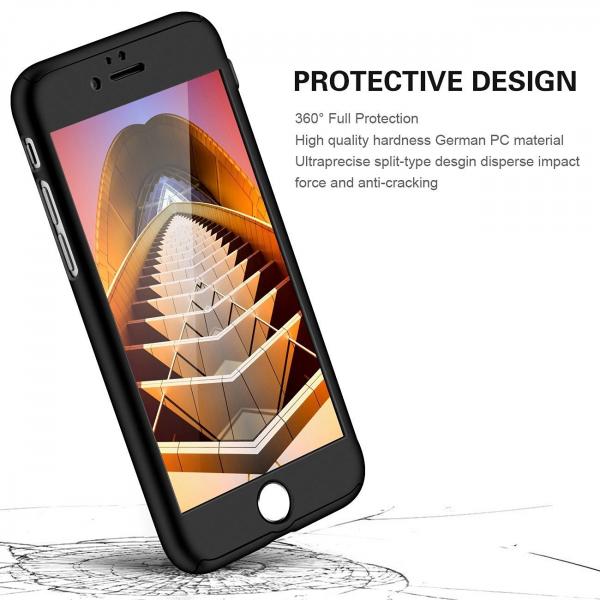 Husa iPaky 360 + folie sticla iPhone 6 Plus / 6S Plus, Negru [1]