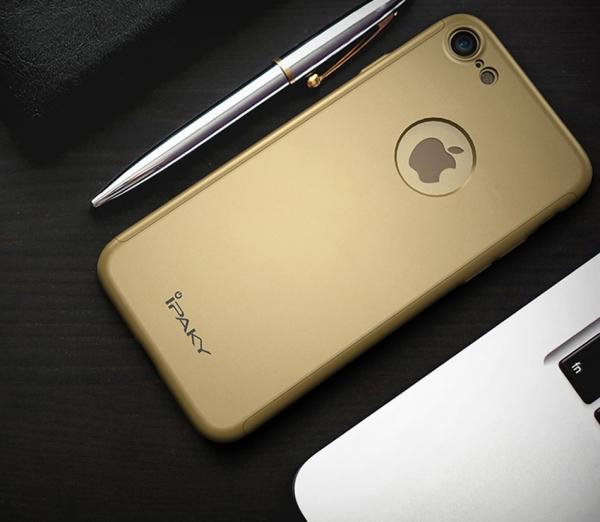 Husa iPaky 360 + folie sticla iPhone 8, Gold 1