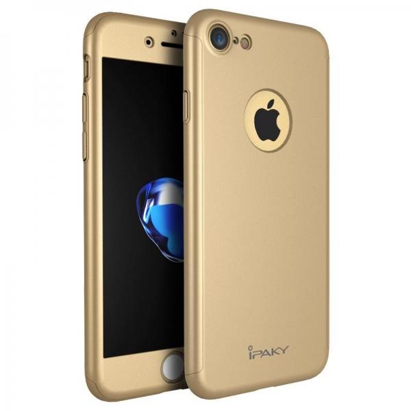 Husa iPaky 360 + folie sticla iPhone 8, Gold 0