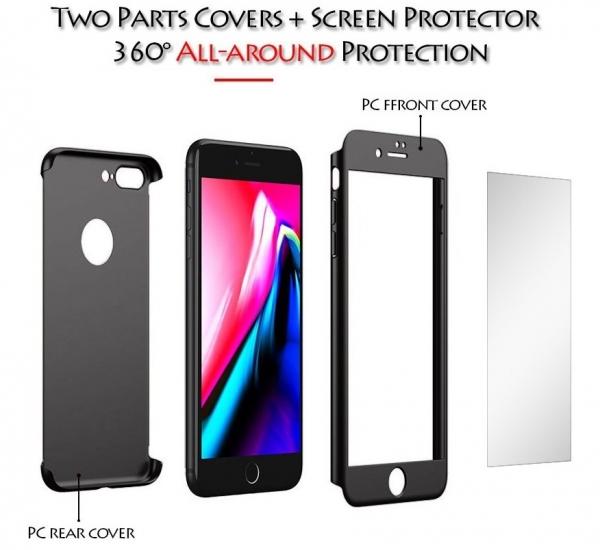 Husa iPaky 360 + folie sticla iPhone 8 Plus, Black [1]