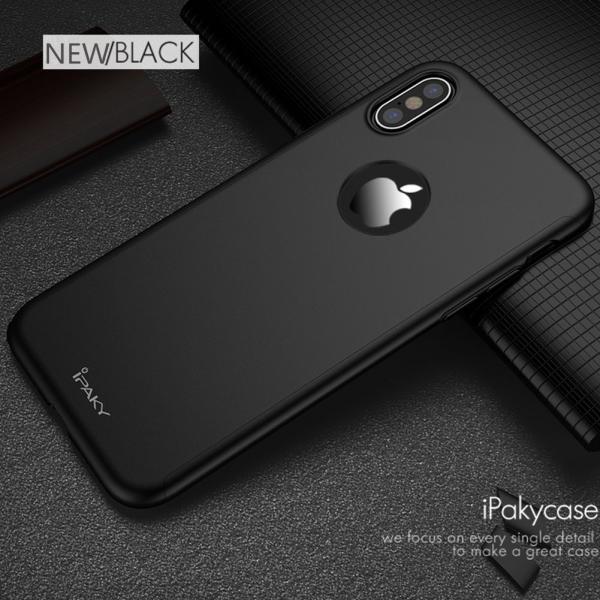 Husa iPaky 360 + folie sticla iPhone X, Black
