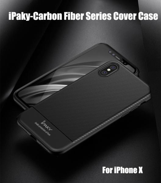 Husa iPaky Carbon Fiber iPhone X, Negru 2