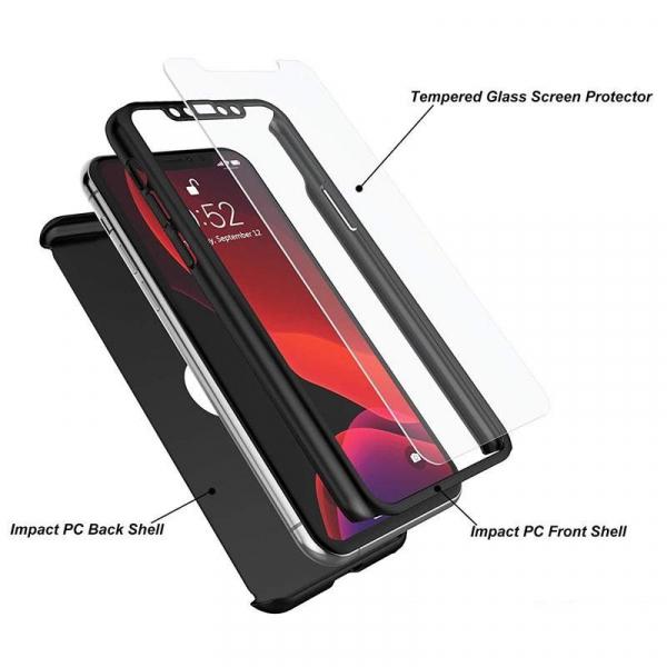 Husa iPhone 11 Full Cover 360 + folie sticla, Negru 1