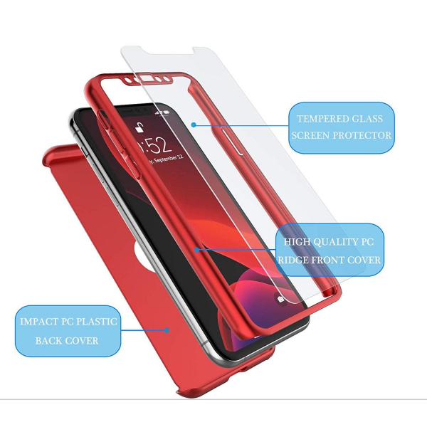 Husa iPhone 11 Full Cover 360 + folie sticla, Red 1