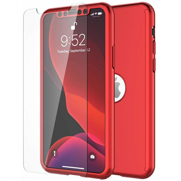 Husa iPhone 11 Full Cover 360 + folie sticla, Red 0