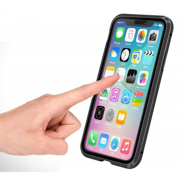 Husa iPhone 11 Magnetic Glass 360 (sticla fata + spate), Negru 2
