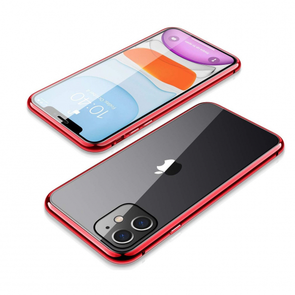 Husa iPhone 11 Magnetic Glass 360 (sticla fata + spate), Red 2