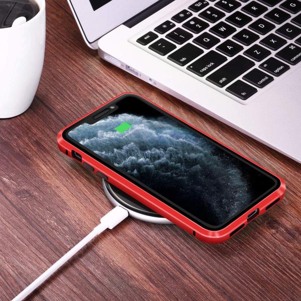 Husa iPhone 11 Magnetic Glass 360 (sticla fata + spate), Red 3