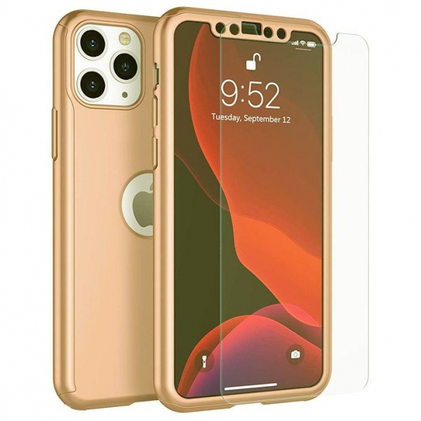 Husa iPhone 11 Pro Full Cover 360 + folie sticla, Gold 0