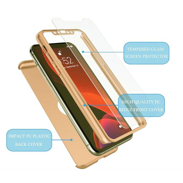 Husa iPhone 11 Pro Full Cover 360 + folie sticla, Gold 2