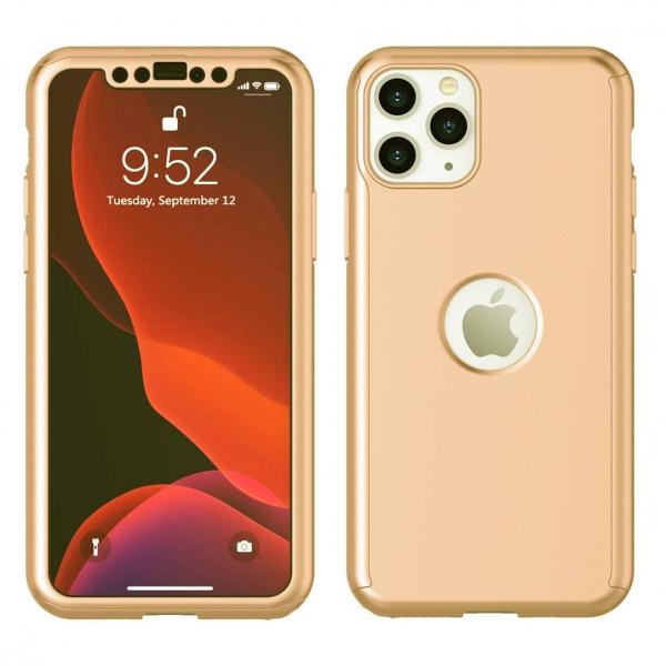 Husa iPhone 11 Pro Max Full Cover 360 + folie sticla, Gold [1]