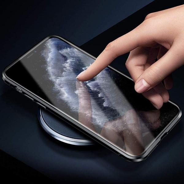 Husa iPhone 11 Pro Max Magnetic Glass 360 (sticla fata + spate), Negru 2