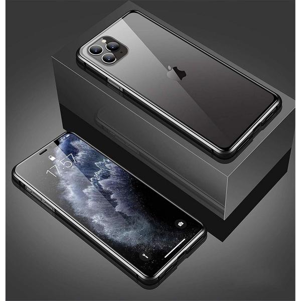 Husa iPhone 11 Pro Max Magnetic Glass 360 (sticla fata + spate), Negru 1