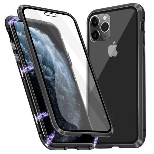 Husa iPhone 11 Pro Max Magnetic Glass 360 (sticla fata + spate), Negru 0