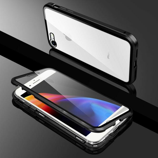 Husa iPhone 8 Magnetic Glass 360 (sticla fata + spate), Negru 2