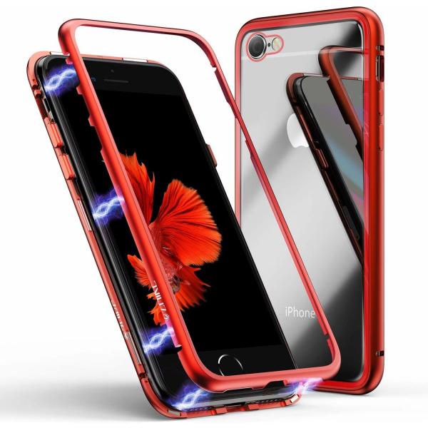 Husa iPhone 7 Magnetic Glass 360 (sticla fata + spate), Red 1