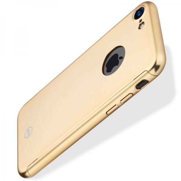 Husa Joyroom 360 + folie sticla iPhone 7, Gold [1]