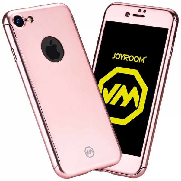 Husa Joyroom 360 + folie sticla iPhone 7, Rose Gold 0