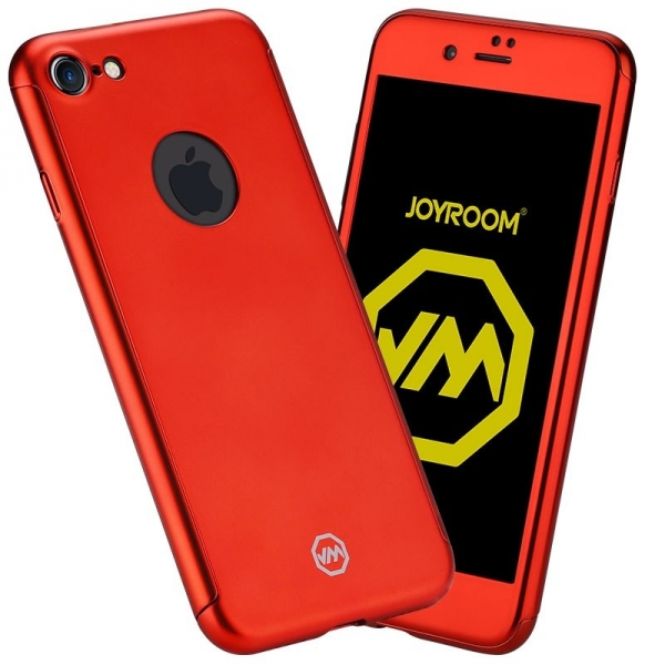 Husa Joyroom 360 + folie sticla iPhone 7, Rosu [0]