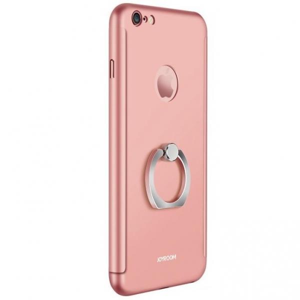 Husa Joyroom 360 Ring + folie sticla iPhone 6 Plus / 6S Plus, Rose Gold 0