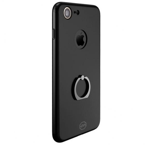 Husa Joyroom 360 Ring + folie sticla iPhone 7, Black 0