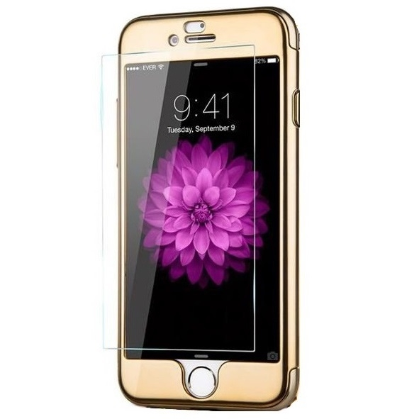 Husa Joyroom 360 Ring + folie sticla iPhone 7, Gold 0