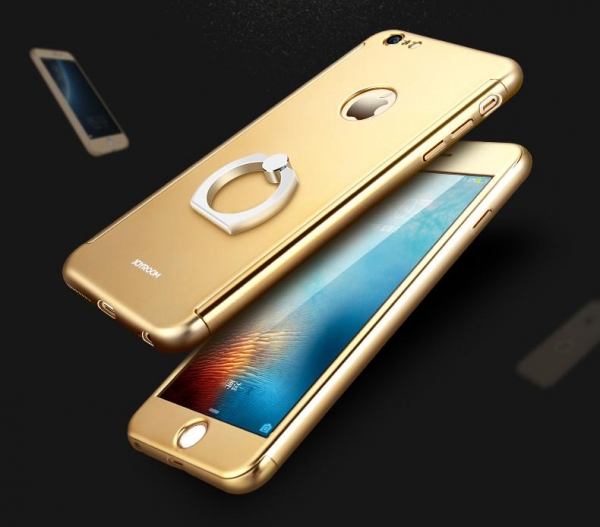 Husa Joyroom 360 Ring + folie sticla iPhone 7, Gold 1