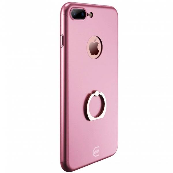 Husa Joyroom 360 Ring + folie sticla iPhone 7 Plus, Rose Gold 0