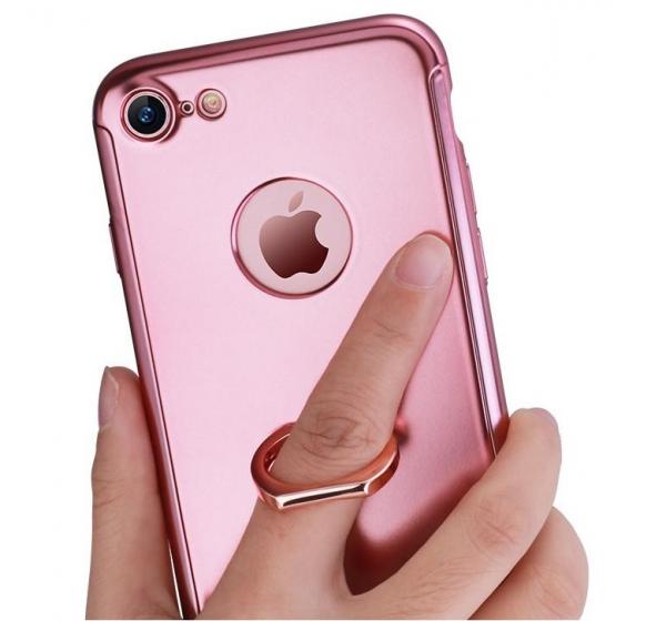Husa Joyroom 360 Ring + folie sticla iPhone 7, Rose Gold [1]