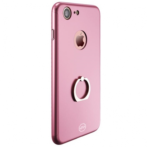Husa Joyroom 360 Ring + folie sticla iPhone 7, Rose Gold 0